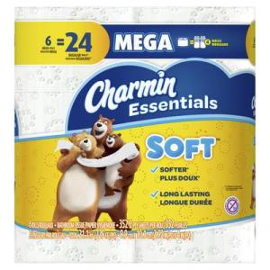 Charmin Essentials Soft Toilet Paper 6 Mega Rolls 352ct/roll - 6pc/3pk