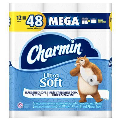 Charmin Ultra Soft Toilet Paper 12 Mega Rolls 284ct/roll - 12ct/4pk