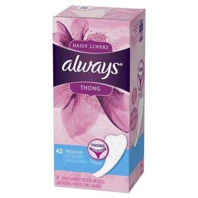 Always Daily Liners Unscented Thong Regular - 42ct/8pk