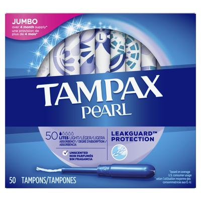 TAMPAX Pearl Light Tampons  Unscented - 50ct/6pk