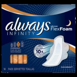 Always INFINITY OVERNIGHT UNS w/Flexi-Wings - 14ct/12pk
