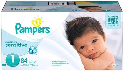 Pampers Super Pack Swaddlers SENSITIVE Size 1 - 84ct/1pk