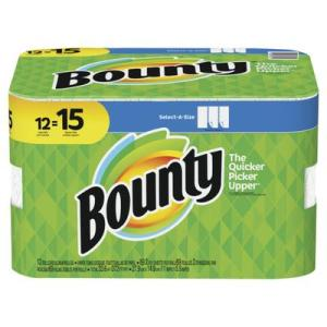 Bounty Select-A-Size Paper Towels White 12 Large Rolls=15Regular Rolls - 69ct/12pk