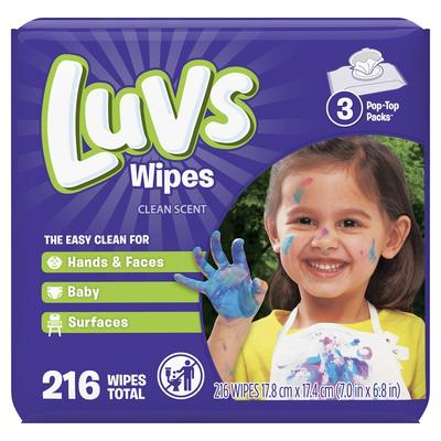 Luvs Baby Wipes 3X Clean Scent - 216ct/4pk