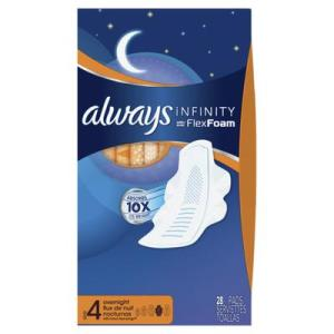 Always INFINITY OVERNIGHT UNS w/Flexi-Wings - 28ct/6pk