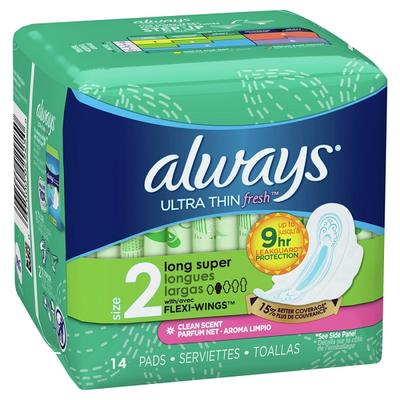 Always Ultra Thin Size 2 Super Pads w/Wings Scented - 14ct/12pk