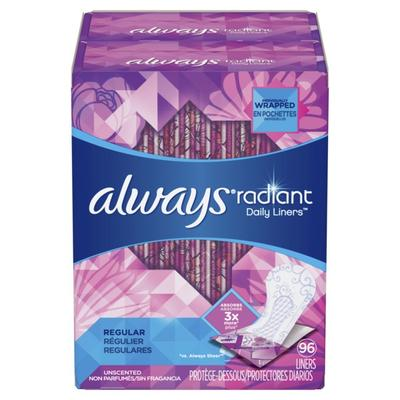 Always Radiant Daily Liners Unscented Regular - 96ct/4pk