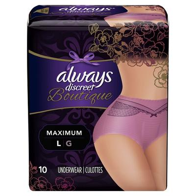 Always Discreet BTQ Underwear Max Prtcton PRPL LG - 10ct/2pk