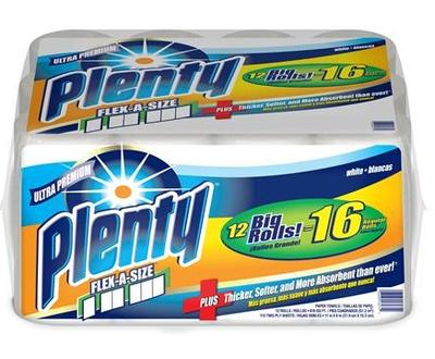 PLENTY Paper Towels Bundles 2ply Flex-A-Size - 112ct/12bdl