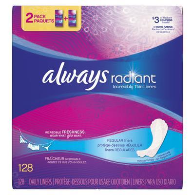 Always Pantiliner FlexiRadiant Thin Unsc - 128ct/4pk