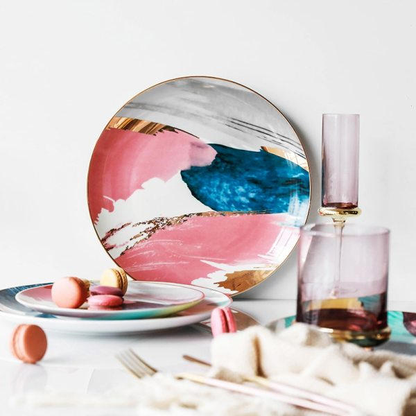 1pcs dinnerware Watercolor painting cloud 8 10 inch Ceramic Plate dinner ceramic porcelain cake plate snack 1