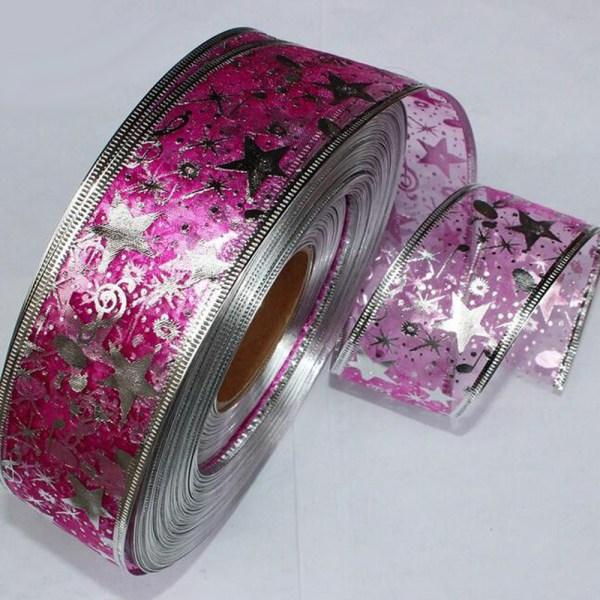 2 Yard Bling Star Printed Organza Ribbon For DIY Christmas New Year Decoration Gift Wrapping Sewing 3