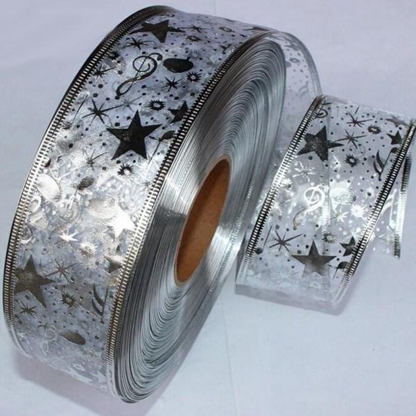 2 Yard Bling Star Printed Organza Ribbon For DIY Christmas New Year Decoration Gift Wrapping Sewing