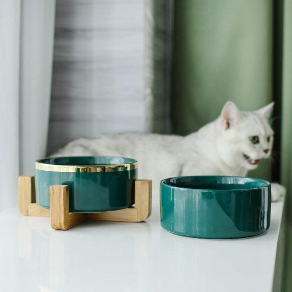 Cat Dog Feeders Bowl Ceramic Tableware Bowls Pet Food Water Bowl Bamboo Frame Antiskid Pet Supplies