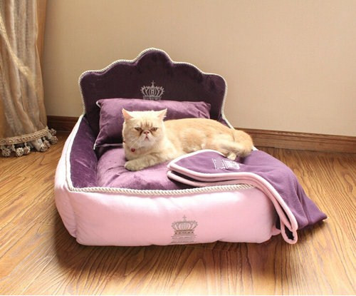Luxury Princess Pet Bed With Pillow Blanket Dog Bed Cat Bed Mat Sofa Dog House Nest 1