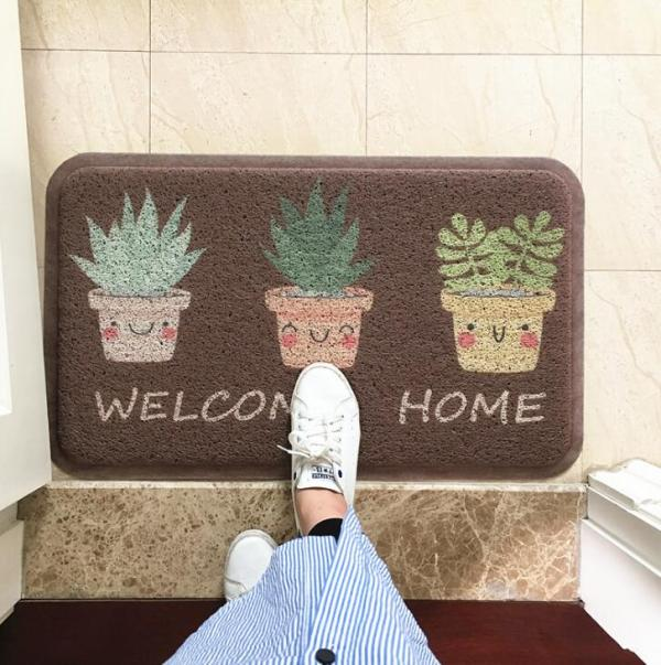TECHOME Dust Removal Carpet Wire Loop Footpad Lovely Plant Mat in the Hallway Kitchen Bath Non