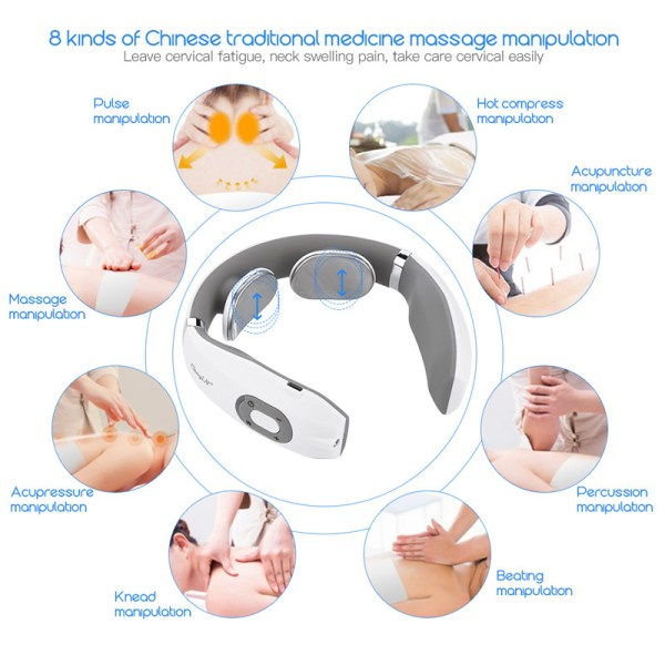 USB Rechargable Pulse Neck Massager Far Infrared Heating Pain Relief Health Care Relaxation Device Intelligent Cervical 2