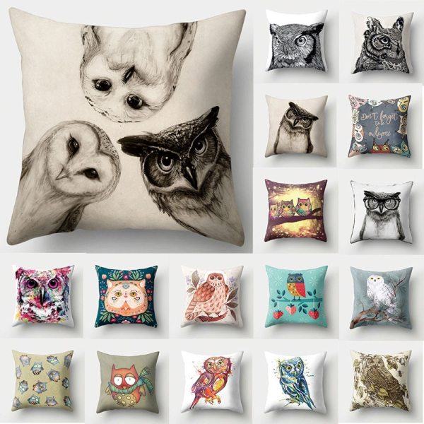 1Pcs Owl Pattern Polyester Throw Pillow Living Room Cushion Cover Car Home Decoration Sofa Bed Decorative