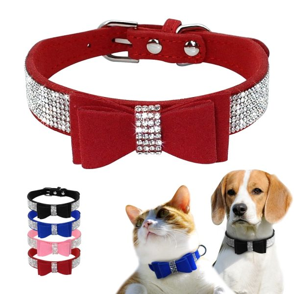 Bling Rhinestone Puppy Cat Collars Adjustable Leather Bowknot Kitten Collar For Small Medium Dogs Cats Chihuahua 1