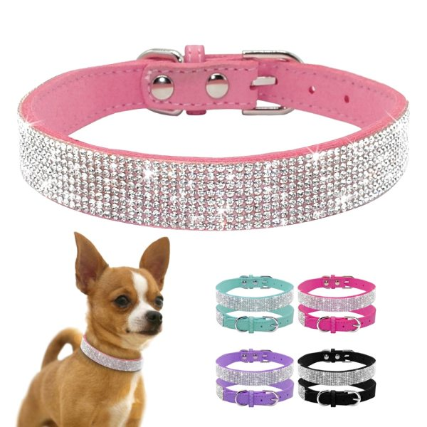 Bling Rhinestone Puppy Cat Collars Adjustable Leather Bowknot Kitten Collar For Small Medium Dogs Cats Chihuahua 2