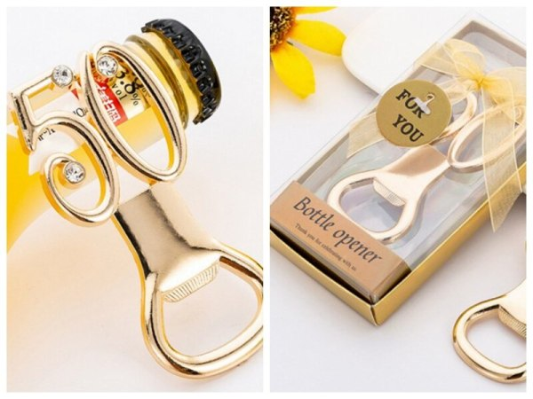 20 Pieces lot Wedding souvenirs of 50th Bottle Opener Gold Favors for 50th Wedding anniversary