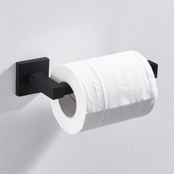 Bathroom Toilet Paper Holder Black Stainless Steel Waterroof Bathroom Accessories Kitchen Wall Mounted Toilet Roll Towel