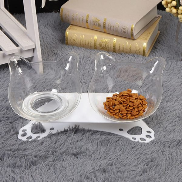 Pet Cat Elevated Bowls Durable Double Bowls Raised Stand Cat Feeding Watering Supplies Dog Feeder Pet