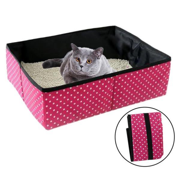Cat Litter Box Practical Collapsible Cat Litter Box Creative Foldable Portable Pet Cat Dot Pattern Litter