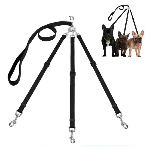 Three Way Pets Dog Leash Adjustable Triple Dog Leash for One Two Three Small Medium Dogs