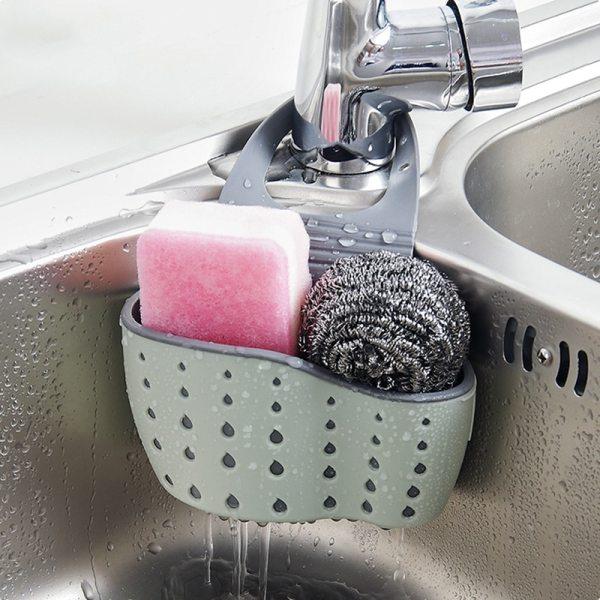 Adjustable Snap Sink Soap Sponge Holder Storage Drain Rack Kitchen Hanging Drain Basket Rack Holder Shelf