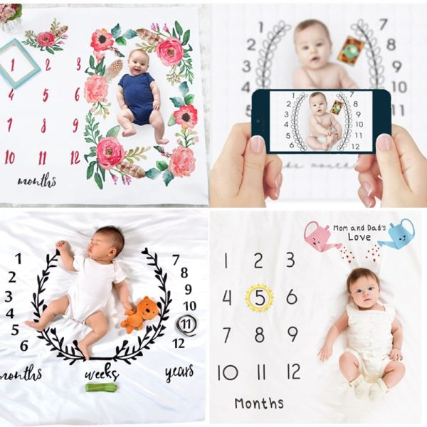 CAN Customize Baby Blanket Newborn Swaddle Stroller Bedding Wrap Photo Background Cloth Monthly Growth Number Photography