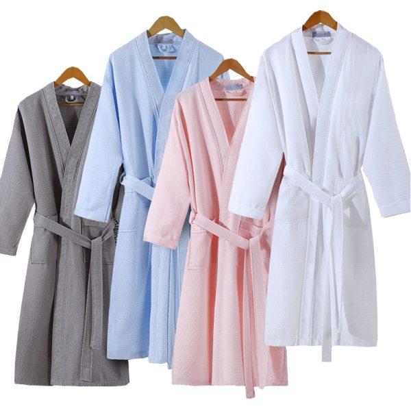 Lovers Summer Fashion Waffle Bathrobe Women Suck Water Kimono Bath Robe Plus Size Sexy Peignoir Dressing
