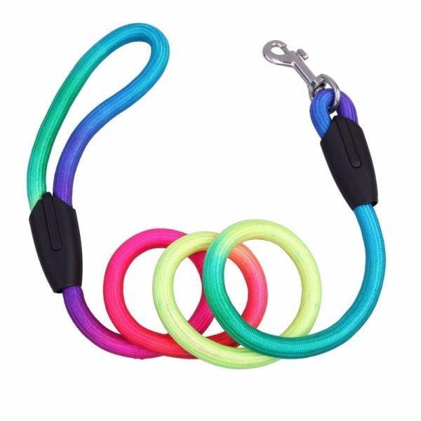 1pc Colorful Dog Leash Rope 1 2M Nylon Belt Pet Traction Walking Lead Rope Round Crude