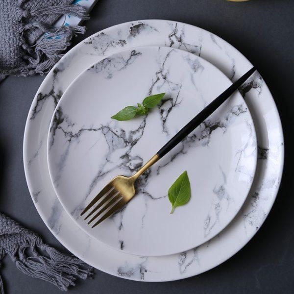 4pcs 8 inch 10 inch Marble pattern porcelain plate ceramic Dinner Plate tableware dinner set marble