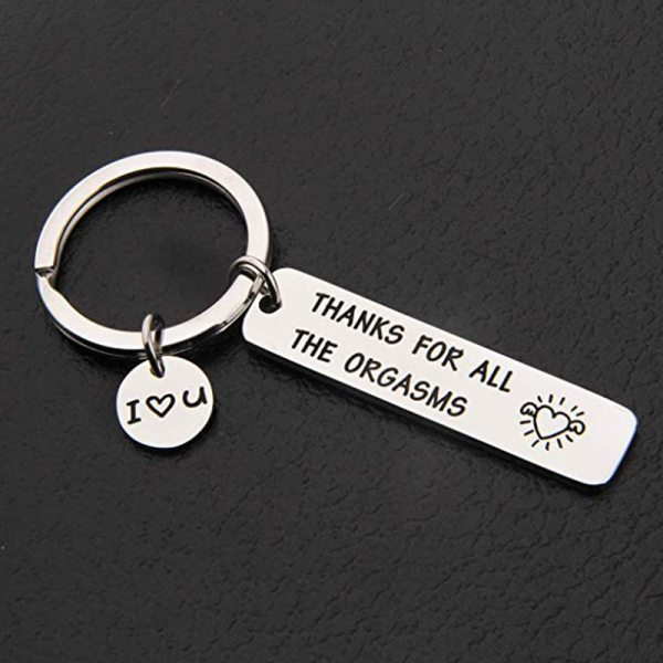 Custom Keyring Engraved Thank for All The Orgasms I Love You Key Ring Couple Keychain Jewelry