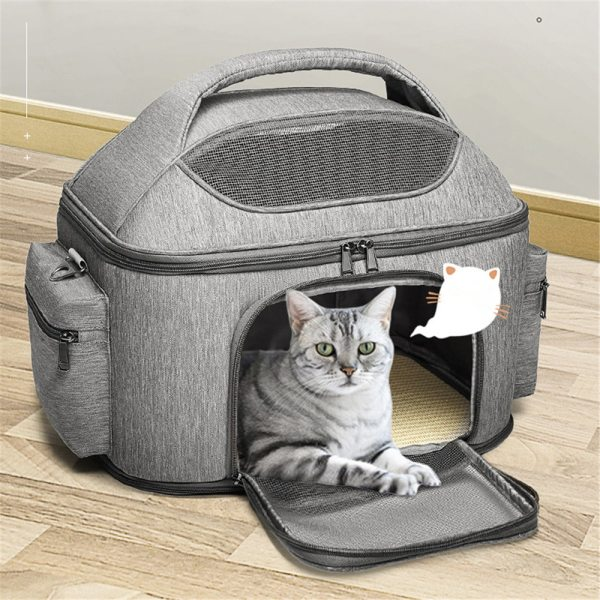 Foldable Shoulder Cats Bag Breather Canvas Zipper Outing Handbag for Small Pets Portable Travel Puppy Kitten
