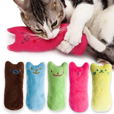 Teeth Grinding Catnip Toys Funny Interactive Plush Cat Toy Pet Kitten Chewing Vocal Toy Claws Thumb