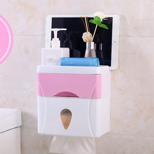 Bathroom Waterproof Tissue Box Plastic Bath Toilet Paper Holder Wall Mounted Paper Storage Box Double Layer