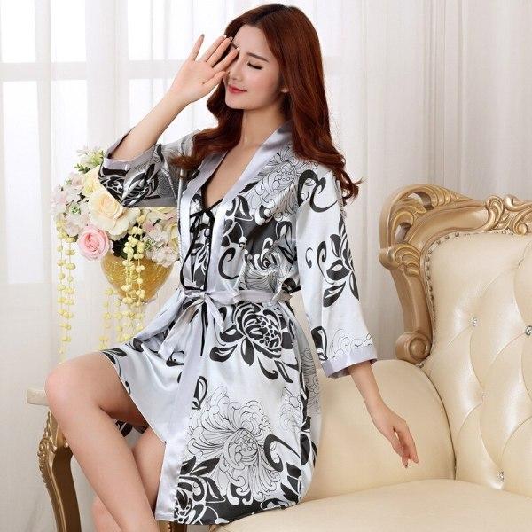 Sexy Summer 2PC Nightgown Sleepshirts Womens Robe Mini Kimono Bath Gown Faux Silk Sleepwear Casual Silky