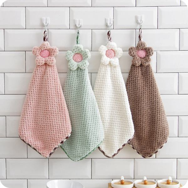 30 28CM Coral Velvet Flower Hand Towels Bathroom Hanging Towel Lint Free Cleaning Cloth Cleaner Kitchen