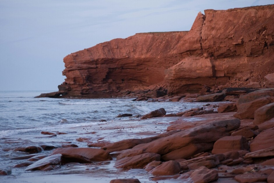 Beautiful sandstone cliffs in Prince Edward Island National Park.