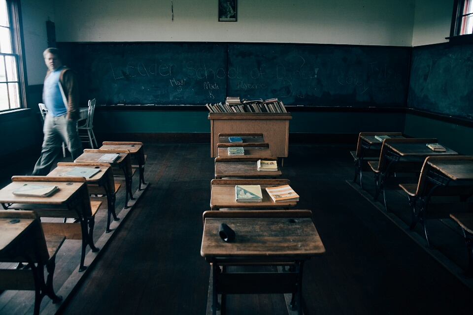 The classroom in the old school building.
