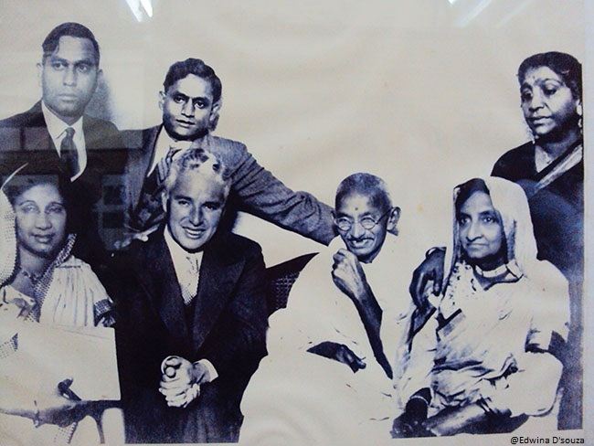 Gandhi and Charlie Chaplin (Centre)
