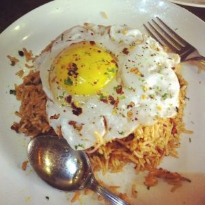 Chorizo Rice with Fried Duck Egg Sunny Side up - Imbiss Bandra