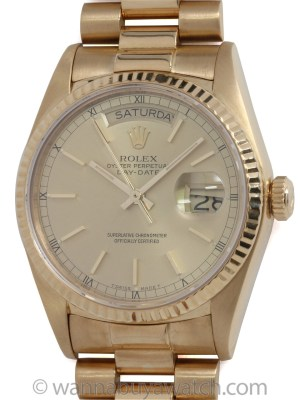Rolex 18K YG Day Date circa 1986 with Papers