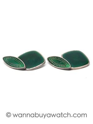 Silver & Green Enamel Cufflinks