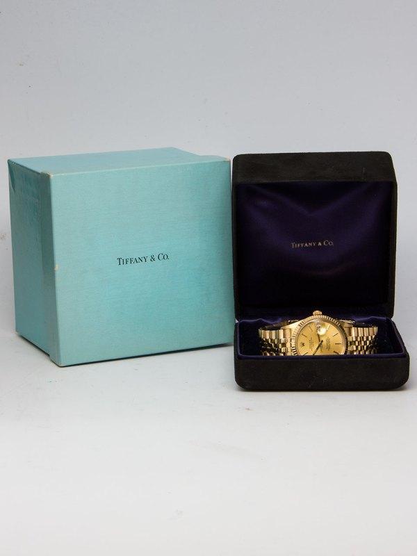 Rolex 14K YG Oyster Perpetual Date Tiffany & Co ref 15037 circa 1981