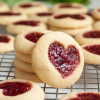 heart-shaped jam thumbprint cookies