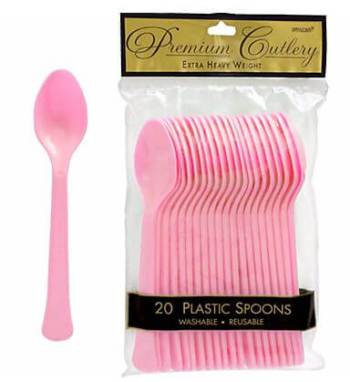 Spoons Premium Plastic Light Pink- 20CT-0