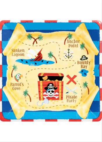 "10"" Square Plate Pirate Party-0"